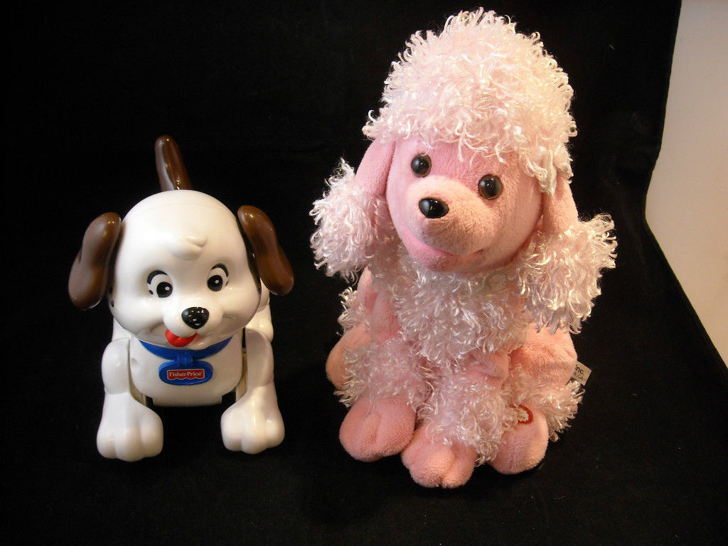 Pair of Motorized Dogs, Plush Poodle and Fisher Price Rolling Dog