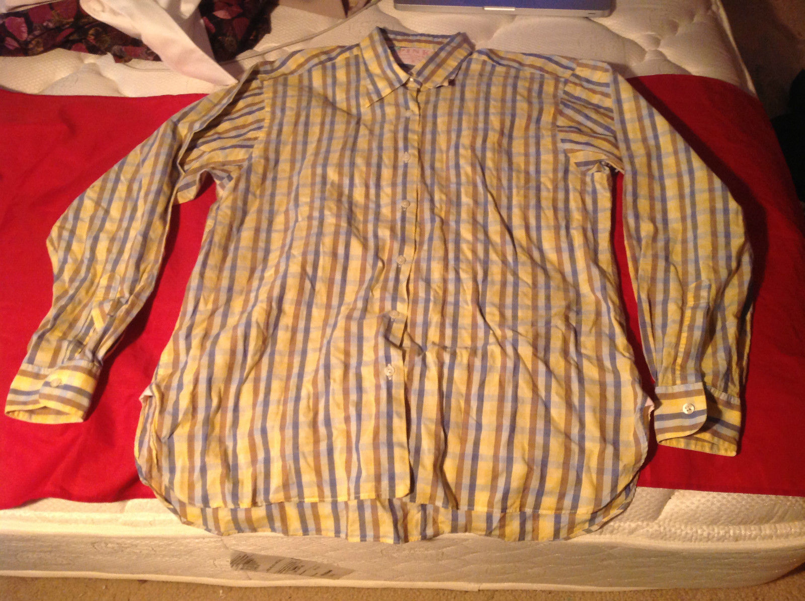 PINK Mens Long Sleeve Button Down Shirt Yellow Blue Burgandy Stripes Size 16