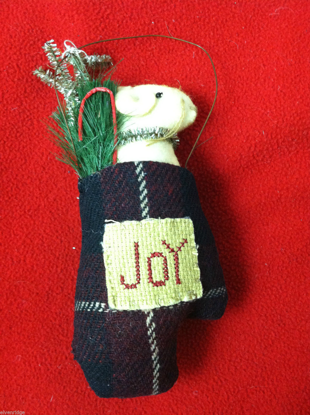 "Pair of Tan Christmas Mice in ""Joy"" Mitten - Comes with Hanging Wire"