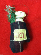 "Pair of Tan Christmas Mice in ""Joy"" Mitten - Comes with Hanging Wire - $39.99"