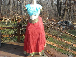 Pale Blue and Rusty Orange Colored Indian Gopi Skirt Set Size Large