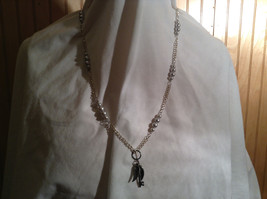 Pale Blue Pearl Bead with Winged Key Pendant Silve Tone Necklace