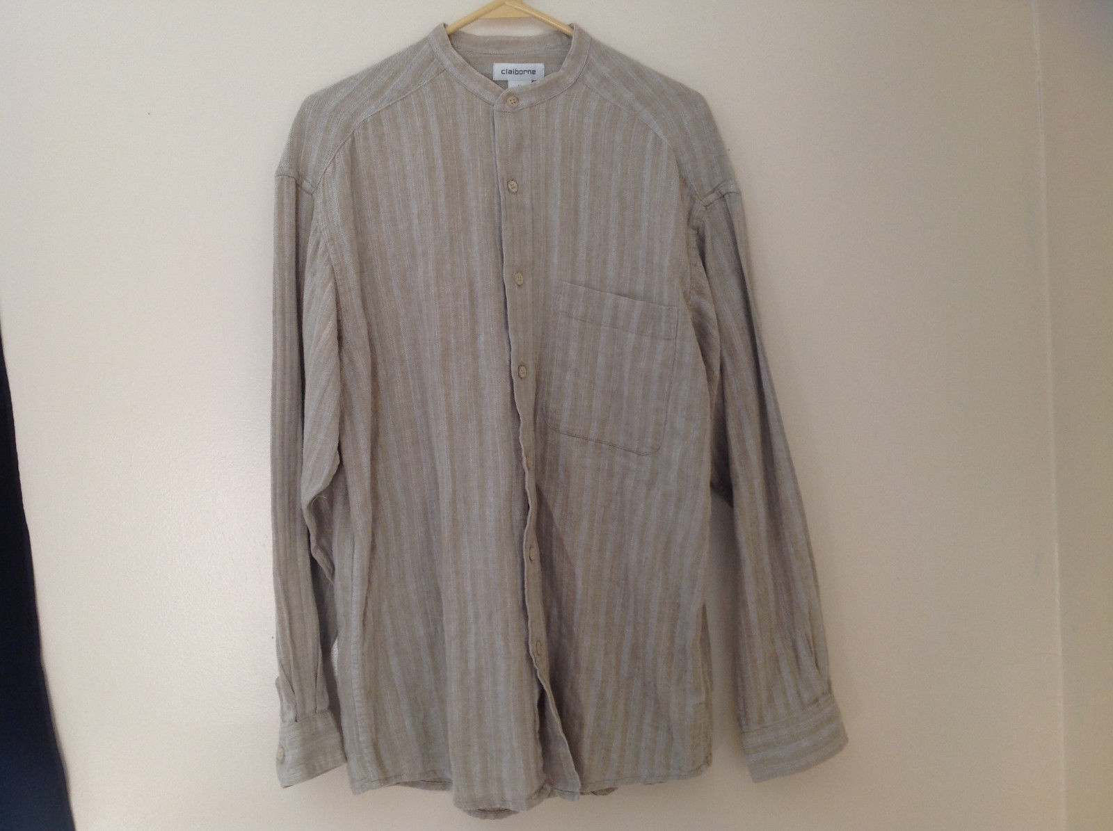 Pale Green Herringbone Button Up Long Sleeve Shirt Claiborne Size Medium