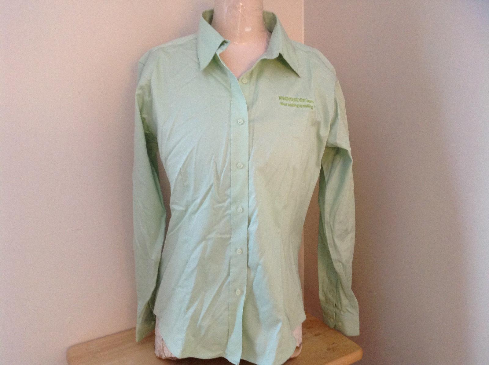 Pale Green Monster.com Button Up Long Sleeve Shirt Adjustable Cuffs Size Medium
