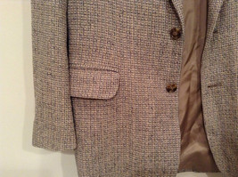 Norm Thompson Size 38R Beige Blue Plaid Suit Jacket Blazer Two Button Closure image 3
