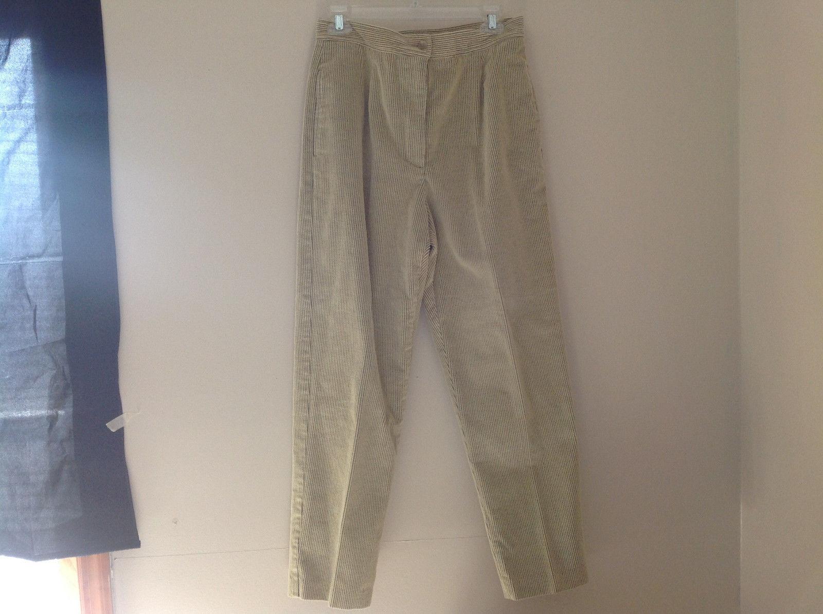 Pale Green Yellow Corduroy Pants Button Zipper Closure Liz Claiborne Size 12