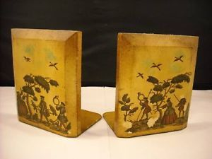 Pair of Wood Bookends with De Coupage Hunting Scenes
