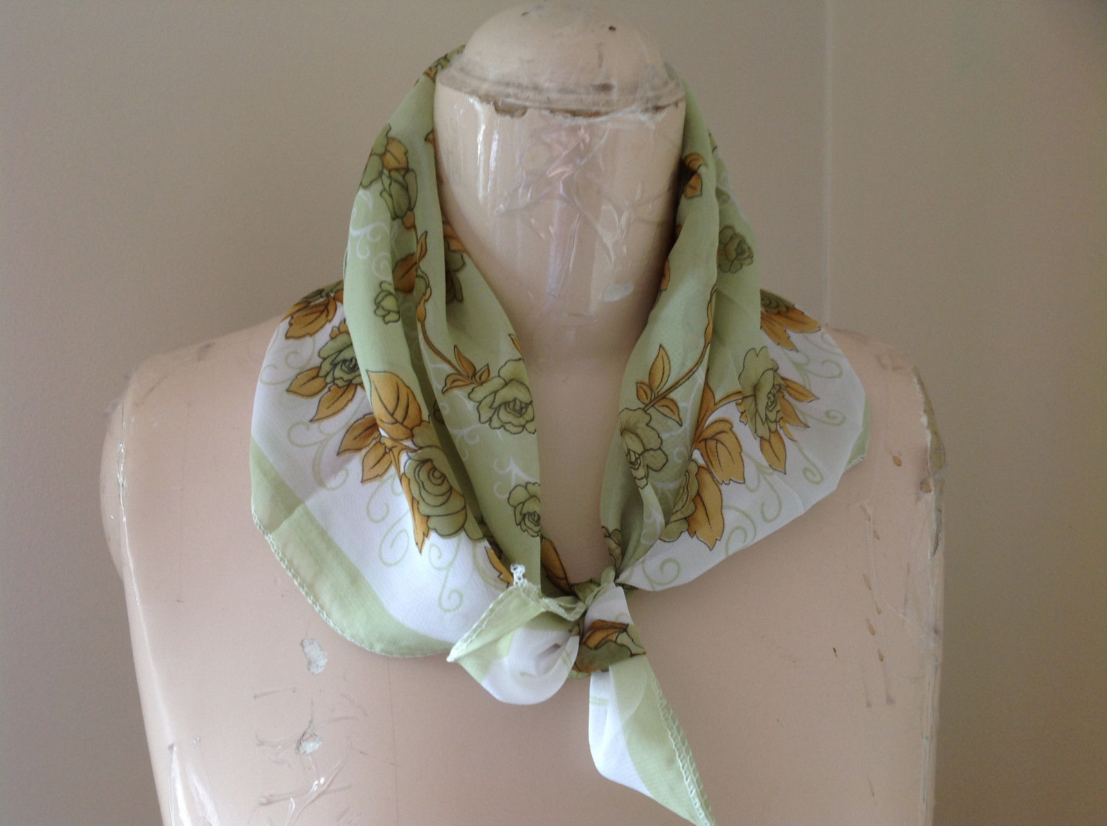 Pale Green White Brown Flowery Design Square Scarf Light Weight Material Hanfei