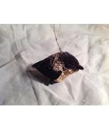 Palm Fiber Perched chickadee Brush Animal Eco Fiber Sustainable Ornament - $39.99