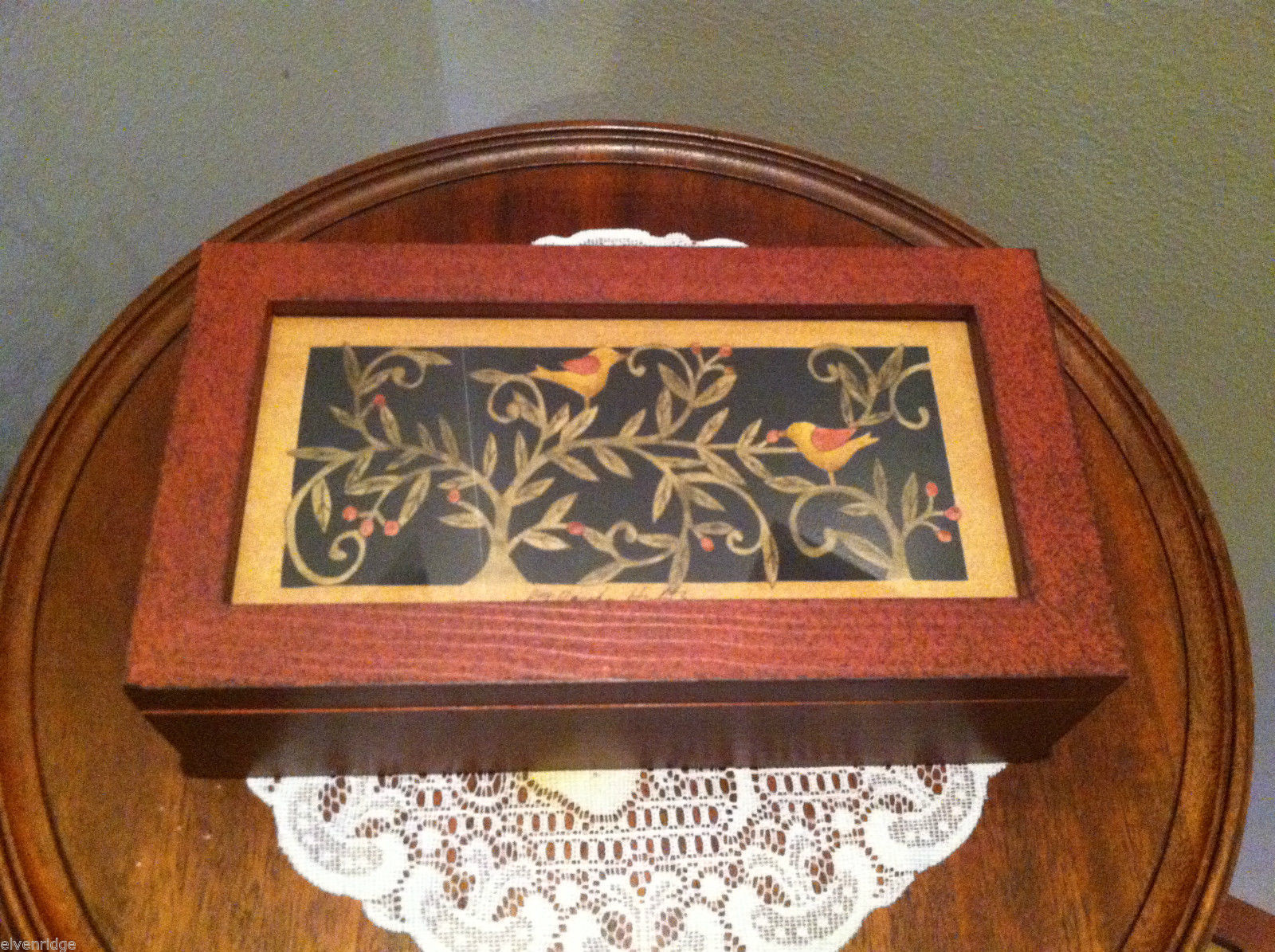 Paper Cutting Vines and Birds Large Trinket Box
