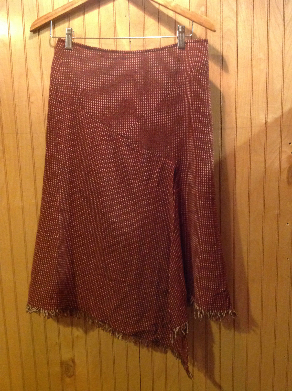 Parameter Size 6 Woven Casual Skirt Red Tan Brown Earthly Toned Pinstriped