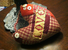 """Patchwork Fabric Heart w/ """"Love"""" embroidered on the front"""