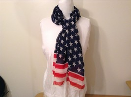 Patriotic American Flag Scarf Navy Blue Red White 100 Percent Polyester NEW