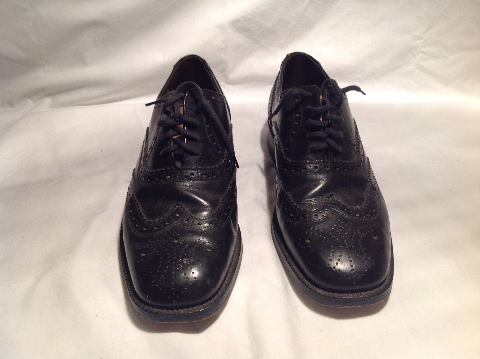 Patrons Black Leather Tie Dress Shoes Size 8 wing tip