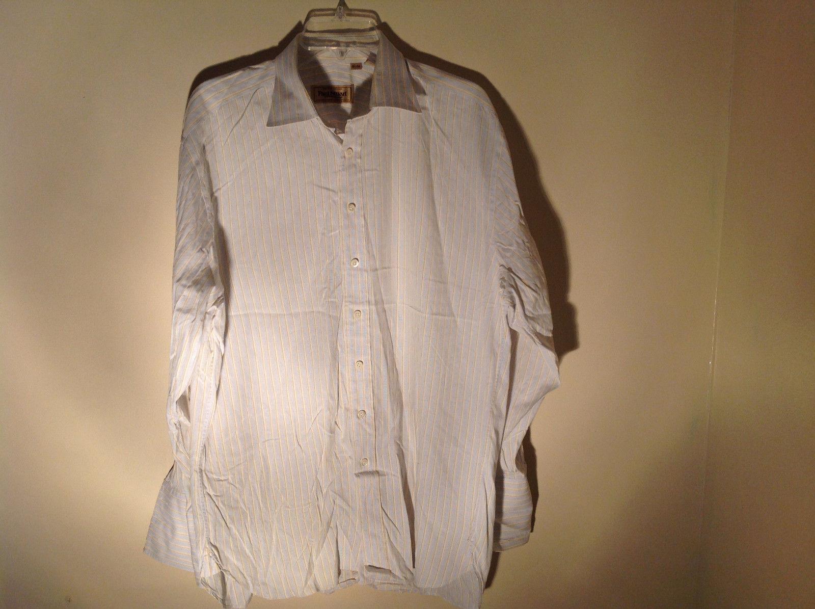 Paul Stuart Light Blue and Yellow Stripes Long Sleeve Button Up Shirt Size 16.5