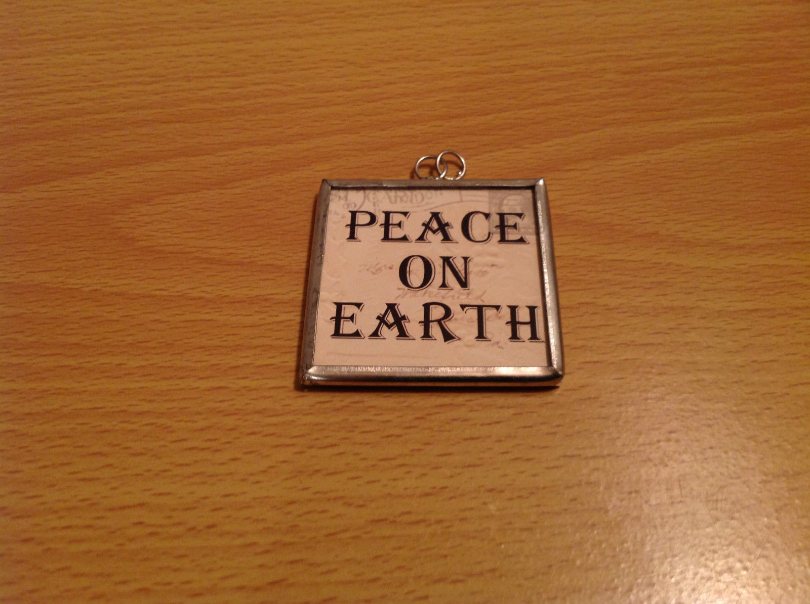 Peace on Earth Saints Charm Gift Tie on Versatile Metal Glass Tag Reversible