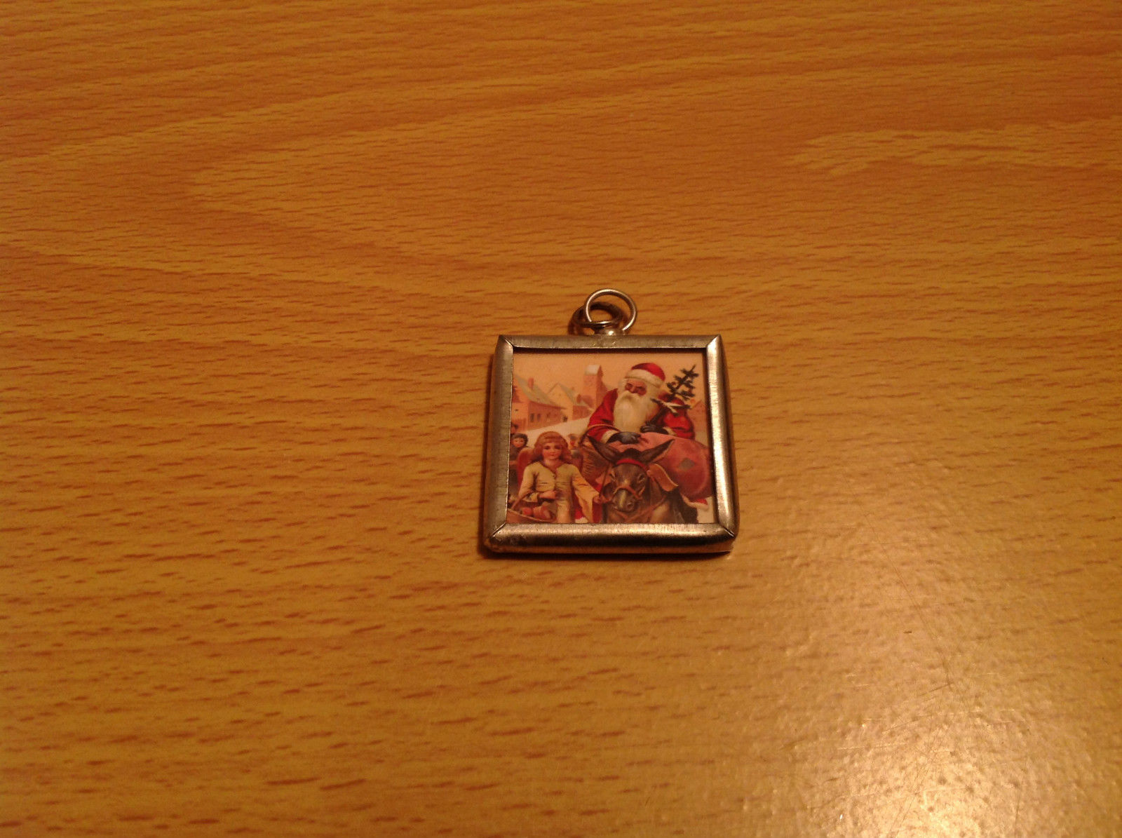 Peace and Santa Reversible Versatile Charm Present Tie On Tag Metal Glass Tag