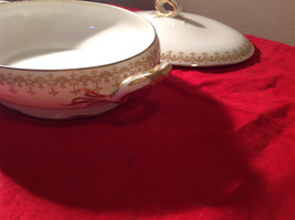Limoges France Large Servicing Dish with Lid Gold Covered Edges Oval Shaped image 3