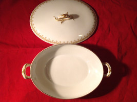 Limoges France Large Servicing Dish with Lid Gold Covered Edges Oval Shaped image 2