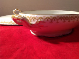 Limoges France Large Servicing Dish with Lid Gold Covered Edges Oval Shaped image 6