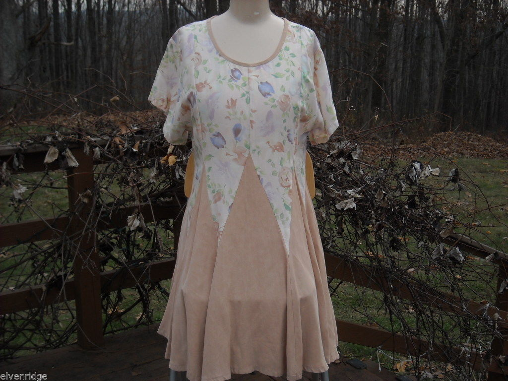 Peach Floral Contra Dance Dress Handmade by North Carolina Artist