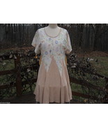 Peach Floral Contra Dance Dress Handmade by North Carolina Artist - $247.50