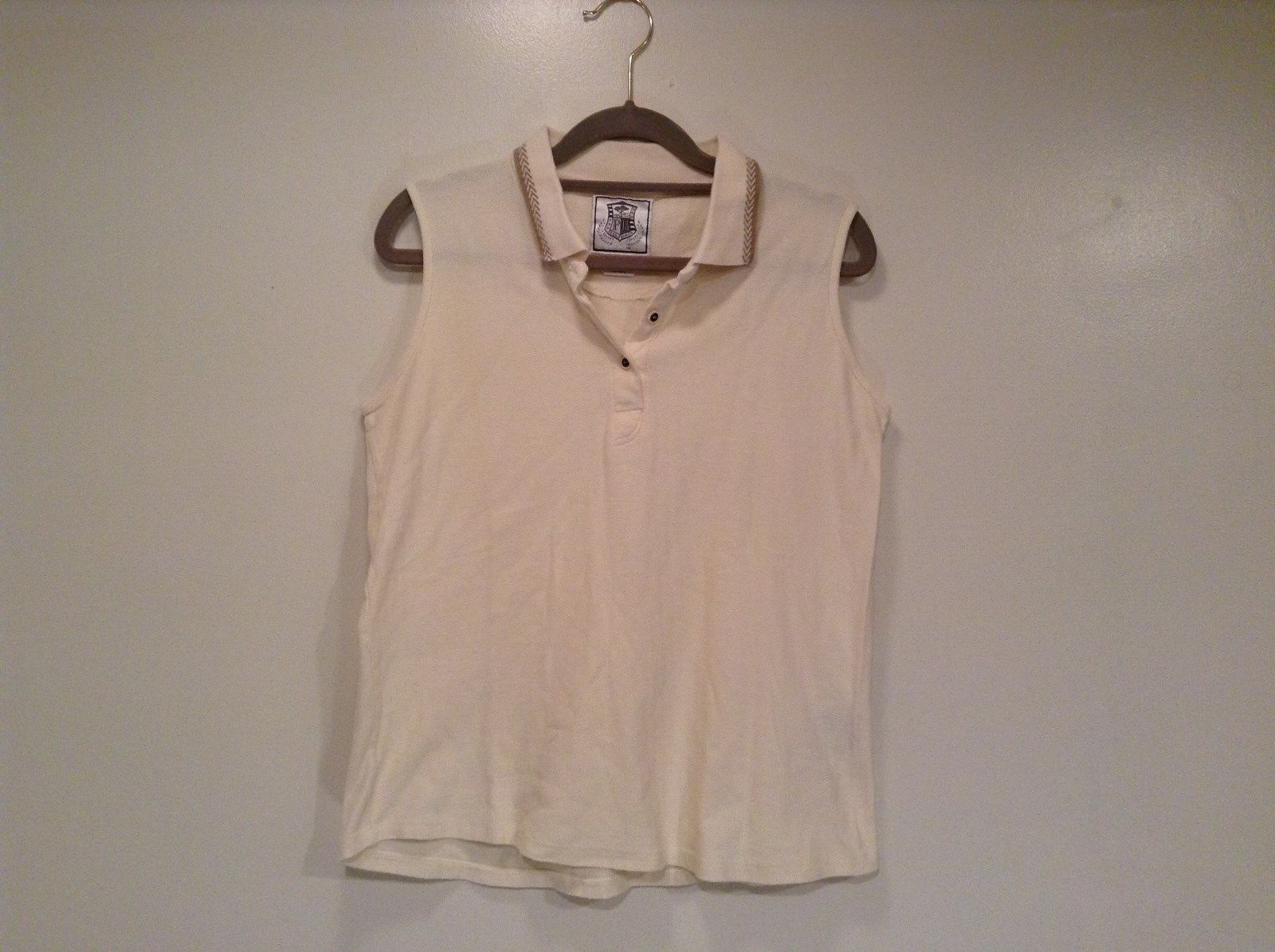 Pebble Beach Size S Natural White Cream Colored Sleeveless Shirt All Cotton