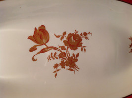 Limoges France Oval Standing Serving Dish Gold and Red Flowers Gold Covered Edge image 2