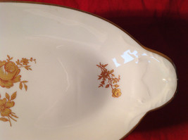 Limoges France Oval Standing Serving Dish Gold and Red Flowers Gold Covered Edge image 3