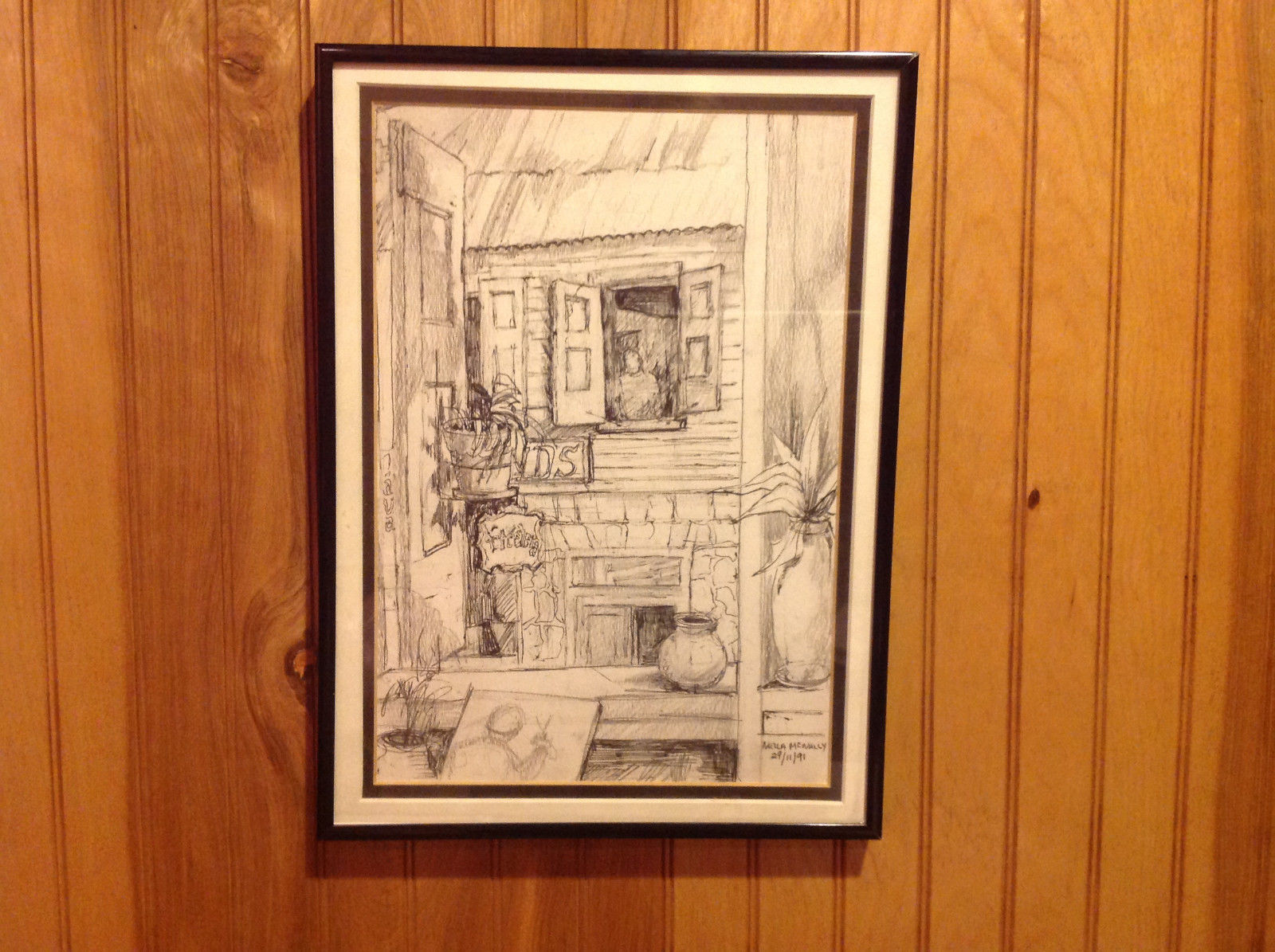 Pencil Drawing by Nella McNally Framed Ready to Hang Signature and Dated