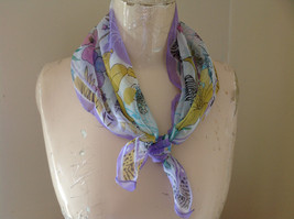 Purple Orange Pink Tropical Flower Design Square Scarf Light Weight Material