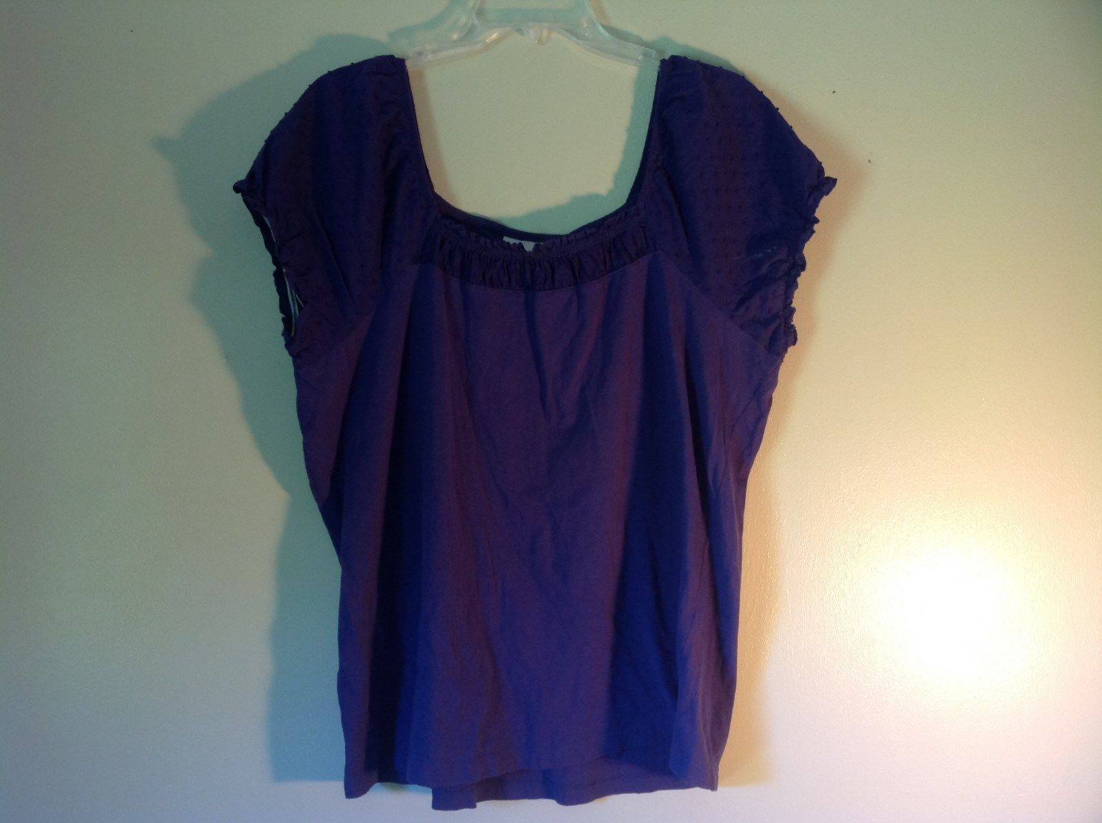 Purple Short Sleeve Shirt by Avenue Size 14 to 16 Elastic Sleeve Ends