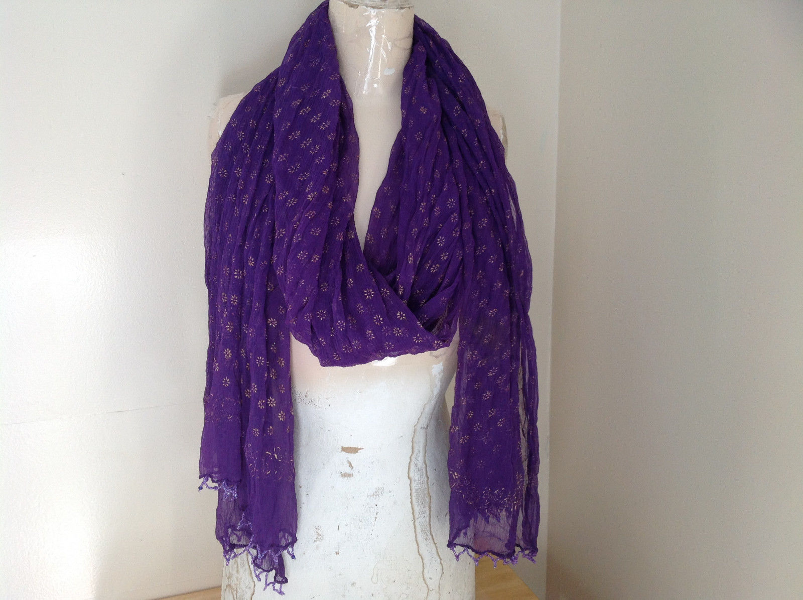Purple Scrunched Style Real Gold Stamped Embossed Beaded Scarf Beaded Tassels