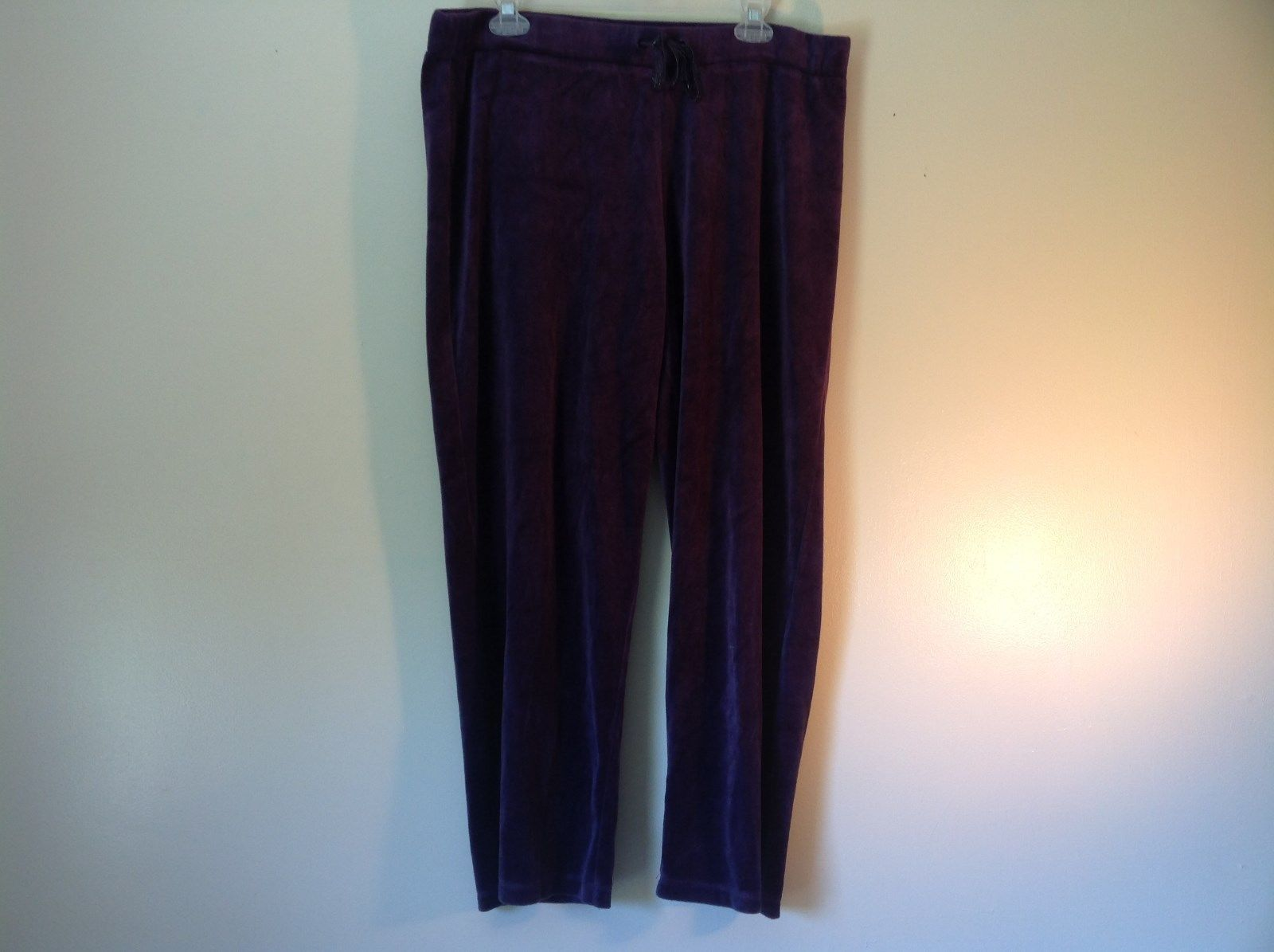 Purple Velvet White Stag Sweat Pants Tie at Waist for Adjustment Size XL