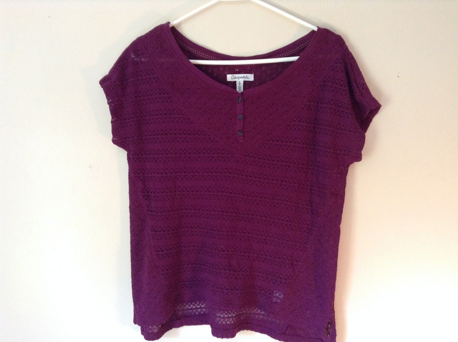 Purple Short Sleeve Size Large Aeropostale Knitted Pullover Top