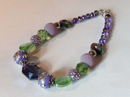Purple Light Purple Green Beaded String Necklace 16 Inches Long