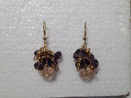 Purple Pink Bunched Bead Gold Tone Dangling Earrings Hook Backing