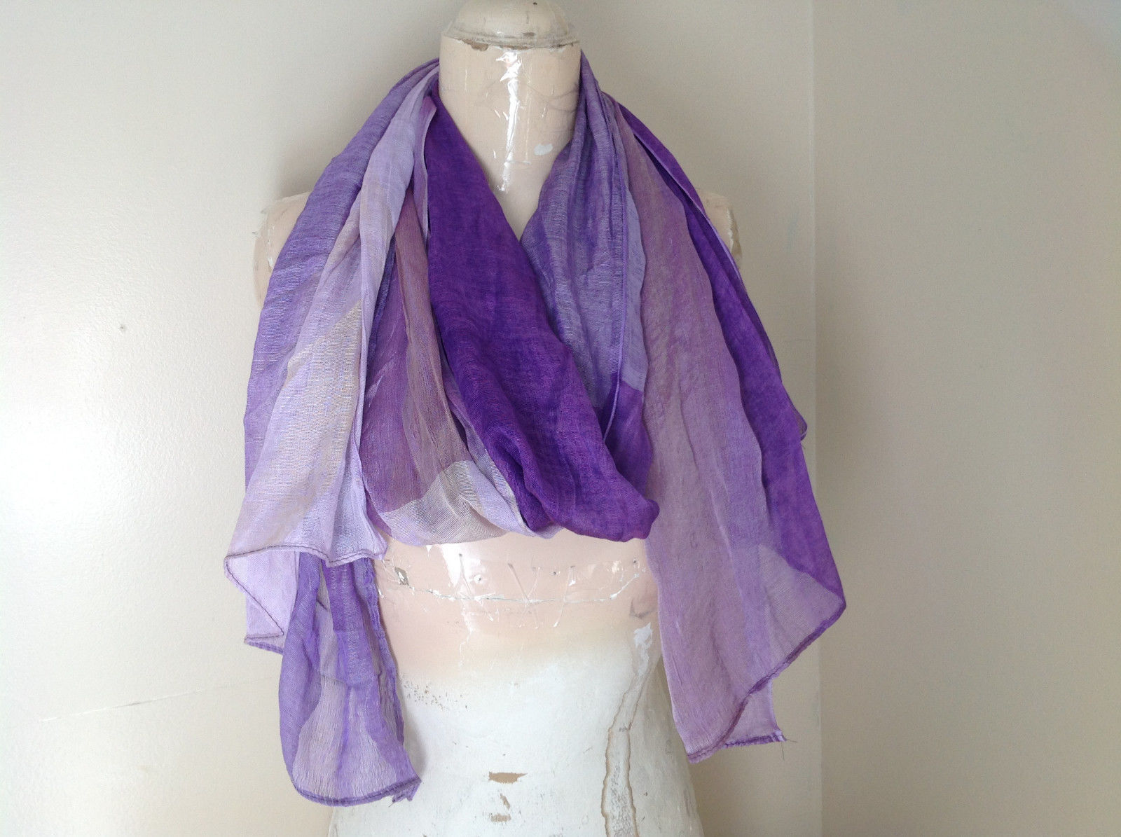 Purple Watercolor Gold Color Tinted Scarf Light and Shiny Material