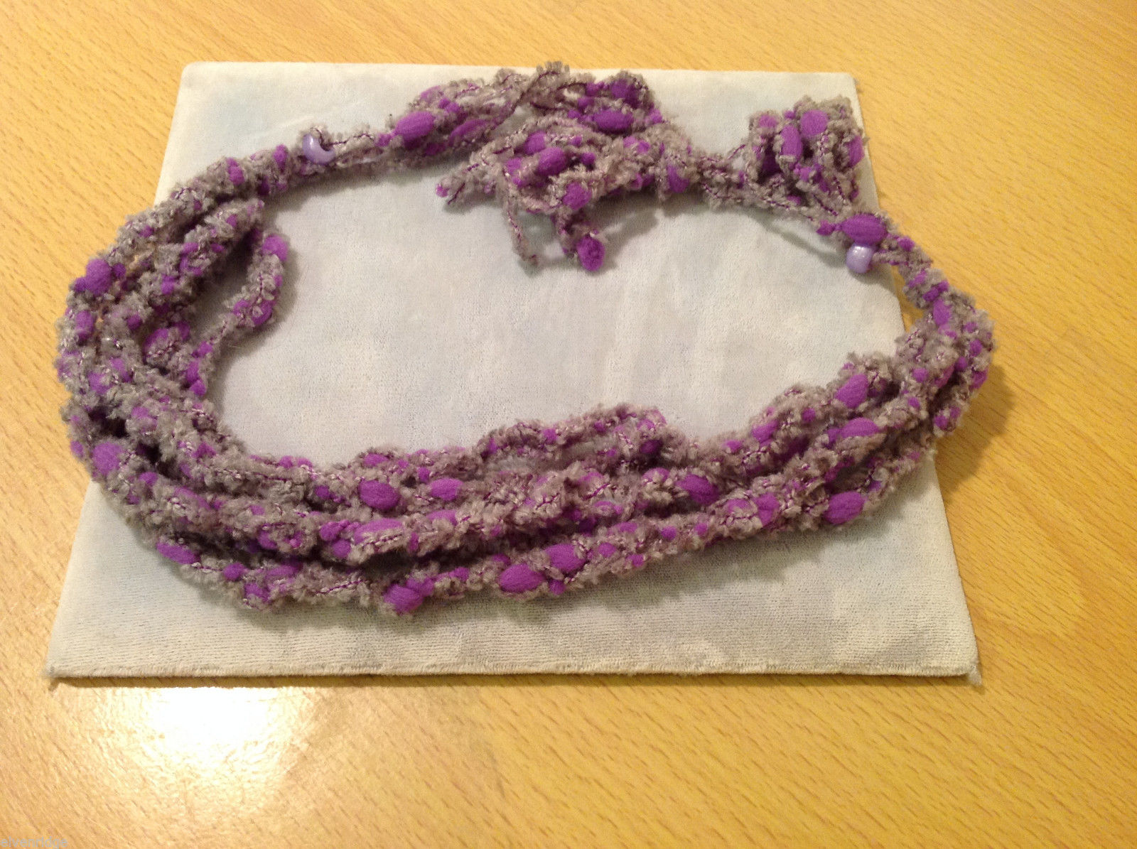 Purple and Gray Knitted Head Band or Necklace with purple beads