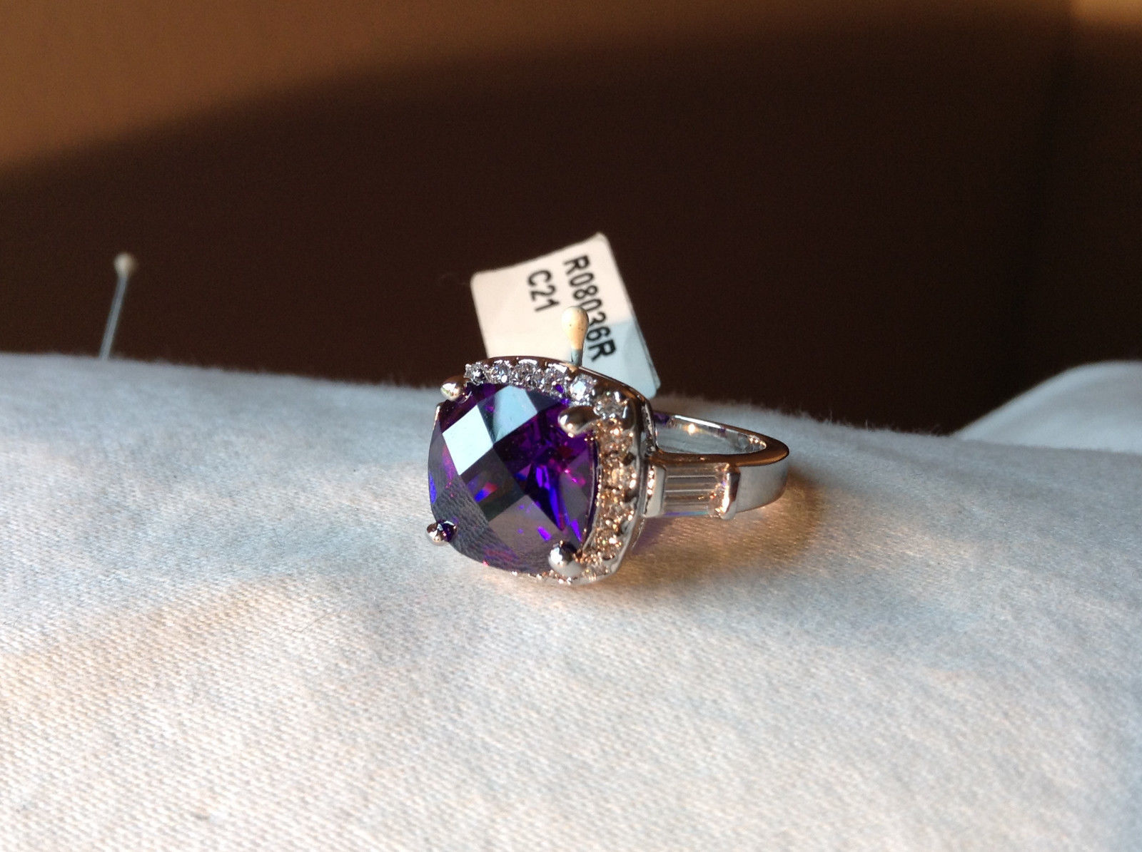 Purple Rounded Square Cut CZ Stainless Steel Ring Sizes 6 and 9