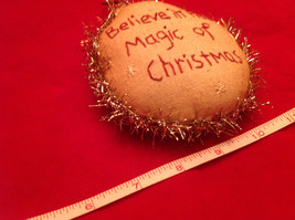 Little Christmas Ornament Pillow Stitched Believe in the Magic of Christmas image 3