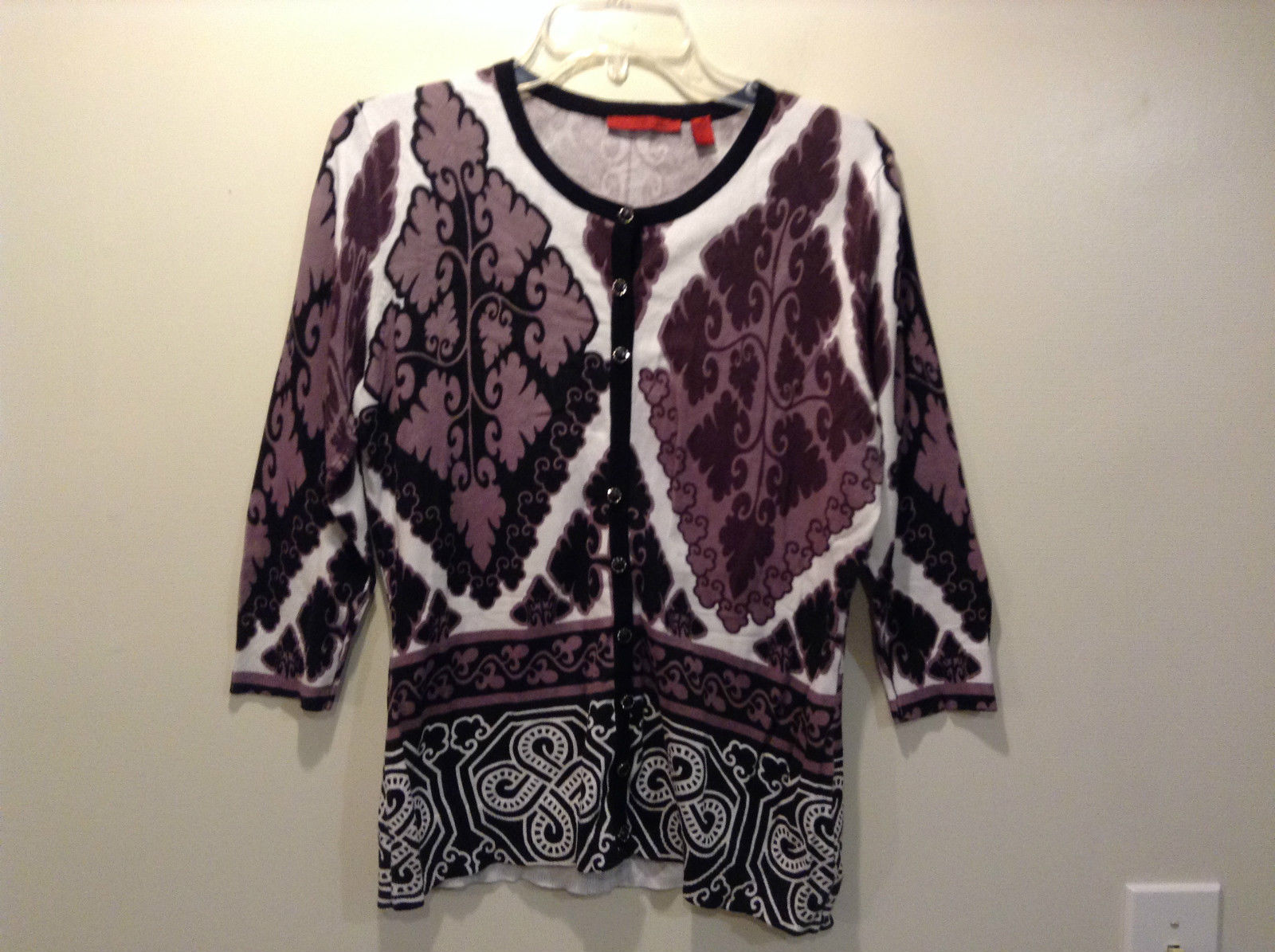 Purple White Black Design Pattern Long Sleeve Button Front Top by Red Size Large