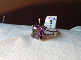 Purple Square Cut CZ Set Stainless Steel Ring Sizes 7 and 8 and 9
