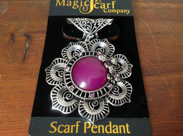 Purple Stone with Crystals and Flower Scarf Pendant by Magic Scarf Company