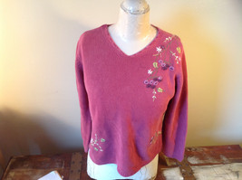 Purple Pink Long Sleeve Sweater Embroidered Flowers Made in China Tags Removed