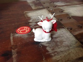 Little white ceramic reindeer lying down knit scarf color choice dept 56 New image 2
