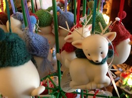 Little white ceramic reindeer lying down knit scarf color choice dept 56 New image 3