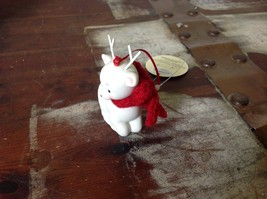 Little white ceramic reindeer lying down knit scarf color choice dept 56 New image 6