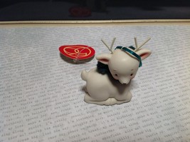Little white ceramic reindeer lying down knit scarf color choice dept 56 New image 11