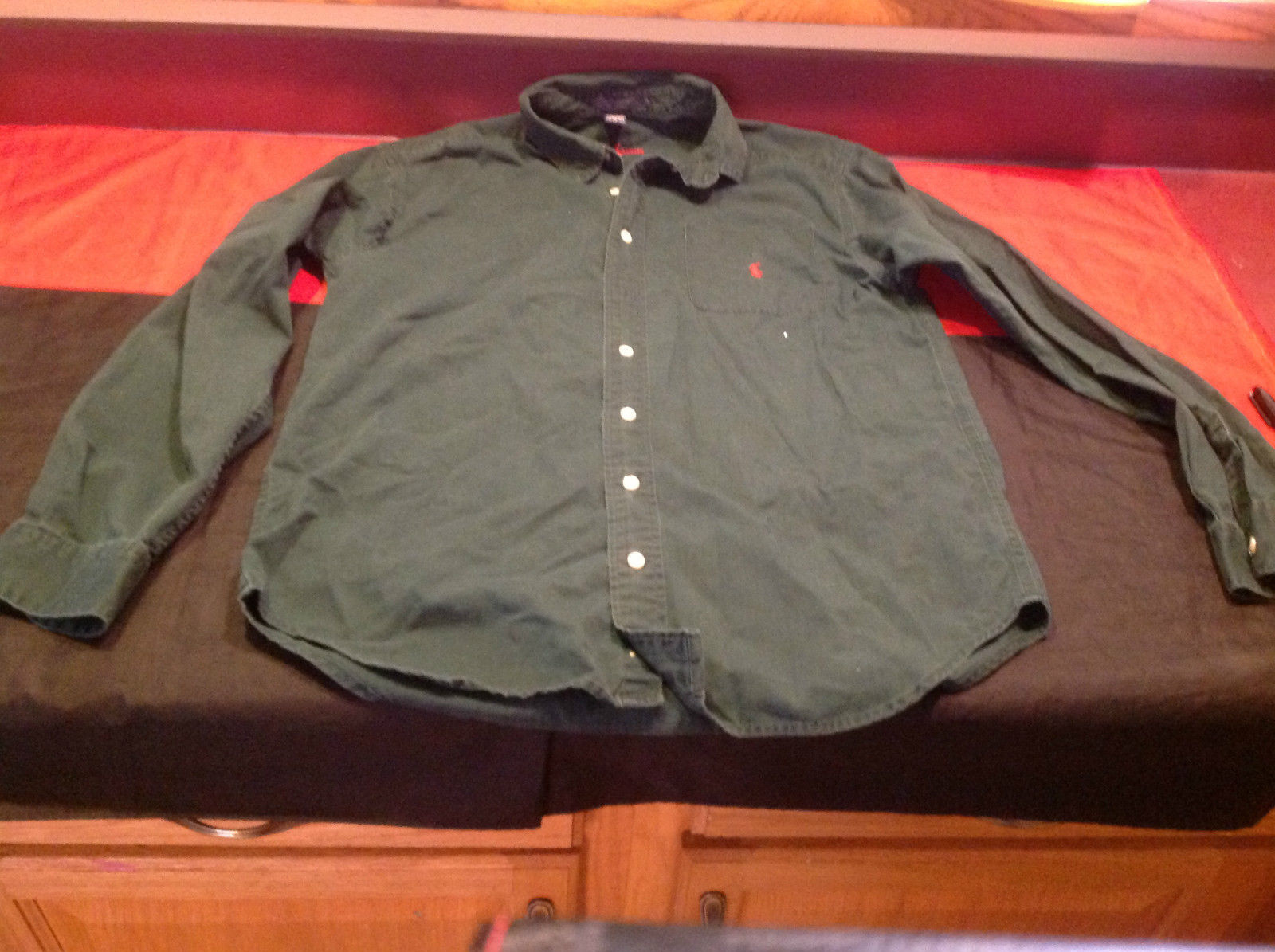 Ralph Lauren Mens Long Sleeve Front Button Green Shirt Size XL